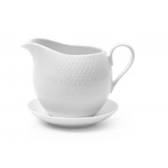 Lyngby Porcelæn Porcelæn Rhombe Saucekande 67cl, Hvid