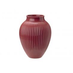 Knabstrup Keramik vase rillet bordeaux 27 cm