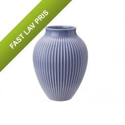 Knabstrup Keramik vase rillet lavendelblå 27 cm