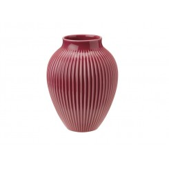 Knabstrup keramik vase rillet bordeaux 20 cm